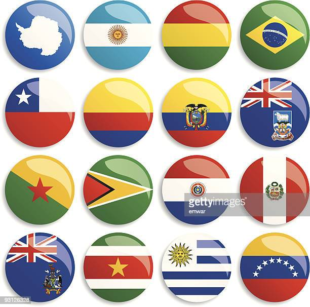 Antarctica & South America flags buttons
