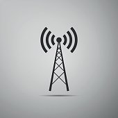 Antenna flat icon on grey background. Vector Illustration