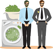 Anti money laundering concept vector illustration. Happy businessman with hands in pockets and criminal in handcuffs standing next to washer full of dirty illegal money.