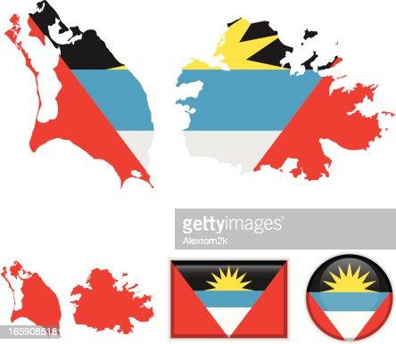 Antigua And Barbuda Map Flag Vector Art Getty Images - Antigua and barbuda map