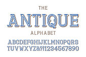 Antique alphabet with numbers in vintage volumetric style.