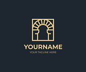 Antique arch in a square design. Vintage arch vector design. Arched construction logotype