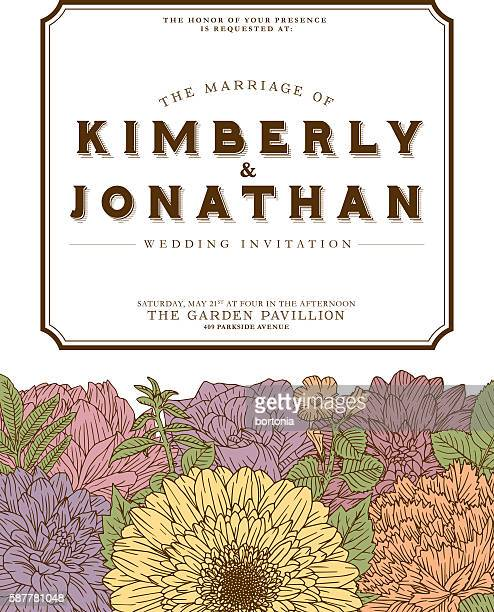Antique Floral Wedding Invitation Design Template