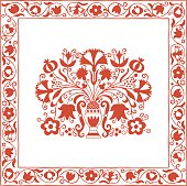 A beautiful antique embroidery pattern from a textile can be seen in a museum