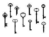 Ten skeleton key silhouettes referenced from actual antique keys.
