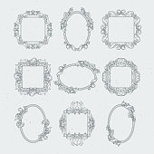 Antique victorian picture frames. Vector set in baroque style. Victorian frame decoration classical style for gallery illustration