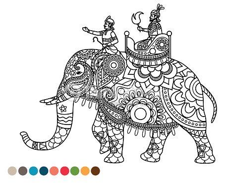 Antiestrés Página Para Colorear Con Maharaja De Elefante Arte ...