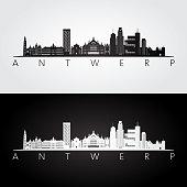 Antwerp skyline and landmarks silhouette, black and white design, vector illustration.
