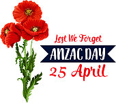 Anzac Day war remembrance anniversary of 25 April Australian and New Zealand holiday. Vector red poppy flowers symbol and Lest We Forget on blue ribbon for Anzac Day national commemorative celebration