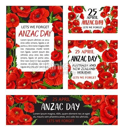Anzac Day Poppy Flower Memorial Card Design Vector Art Thinkstock