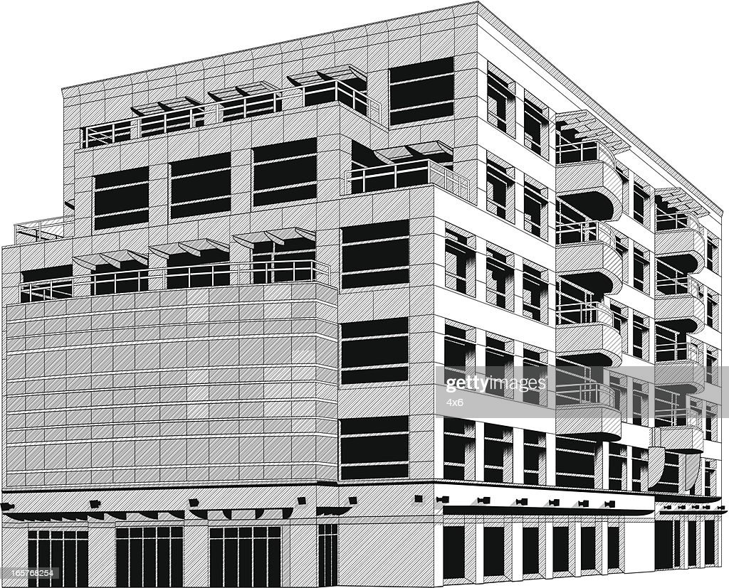 Apartment Building Illustration Vector Art Getty Images