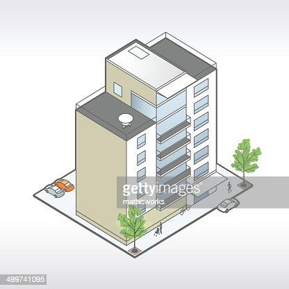 Apartment Building Illustration apartment building illustration vector art | getty images
