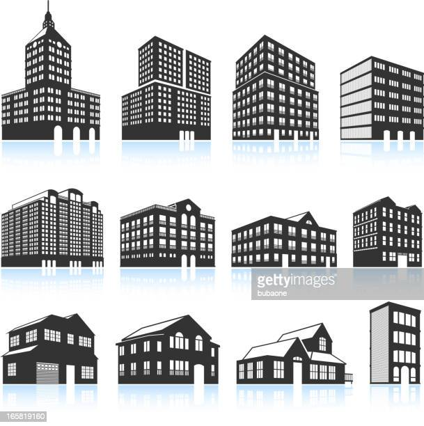 Apartment Buildings and Condominiums black & white vector icon set