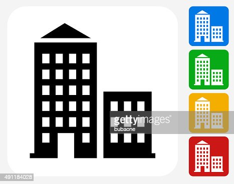 Apartment buildings icon flat graphic design vector art for Apartment design vector