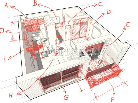 Apartment diagram with hand drawn architects notes vector art apartment diagram with hand drawn architects notes vector art ccuart Choice Image