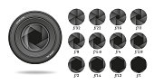 Aperture icon set with value numbers. Camera shutter lens diaphragm row. Vector illustration.