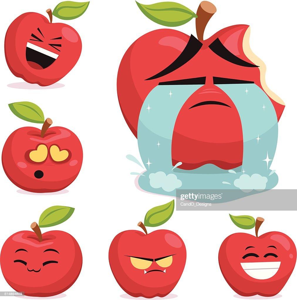 green apple cartoon set b vector art getty images