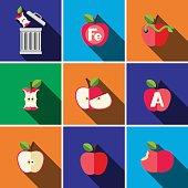 Apple flat icon set illustration isolated vector sign symbol