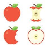 Apple icons set, flat design