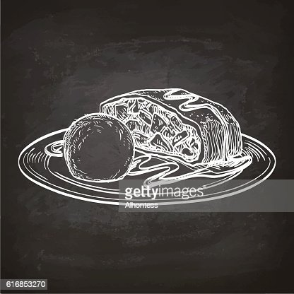 Apple strudel on chalkboard. : Vector Art