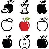 Apple icon collection - vector outline and silhouette