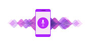 Vector colorful illustration with mobile phone, sound symbol, microphone button, voice and sound line on white background.