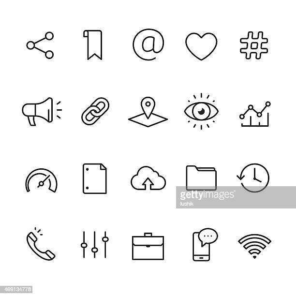 Application UI and UX related linear icons