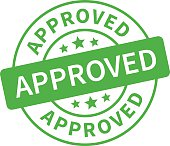 An approved application green stamp
