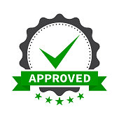 Approved certificate icon with five stars - isolated on white background