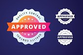 Approved stamp with three color variants - colorfull and simple badge. Vector sticker template with colorful gradient style.
