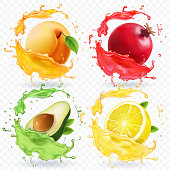 Apricot, lemon, pomegranate, avocado juice. Fruits in realistic splash vector set.