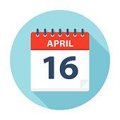 April 16 - Calendar Icon - Vector Illustration