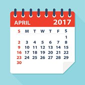 April 2017 calendar - Illustration