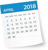 April 2018 Calendar Leaf - Vector Illustration