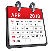 April 2018 calendar vector illustration, simple and clean design.