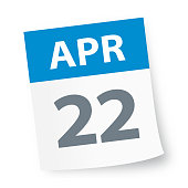 April 22 - Calendar Icon - Vector Illustration