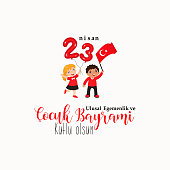 vector illustration of the cocuk baryrami 23 nisan , translation: Turkish April 23 National Sovereignty and Children's Day, graphic design to the Turkish holiday, kids icon, children icon,