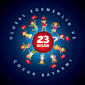 Vector illustration of the 23 Nisan Çocuk Bayrami, April 23 Turkish National Sovereignty and Children's Day, design template for the Turkish holiday.