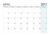 2017 April calendar (or desk planner), week start on Monday