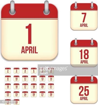 April days. Vector calendar icons : stock vector