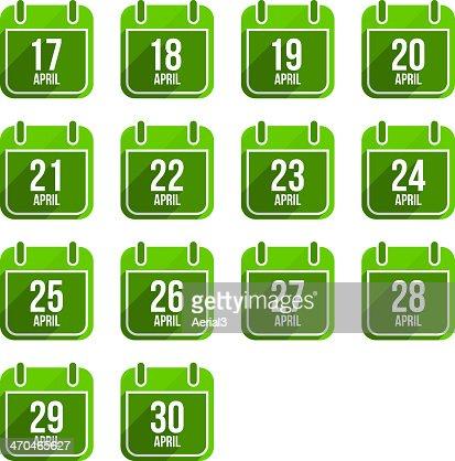 April vector flat calendar icons. Days Of Year Set 14 : stock vector