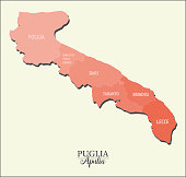 Apulia map, divided into provinces