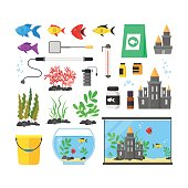 Aquarium with Fish, Blue Water and Equipment Set Hobby or Decor Interior Home Include of Thermometer, Bowl, Filter and Lamp . Vector illustration of two Aquariumes
