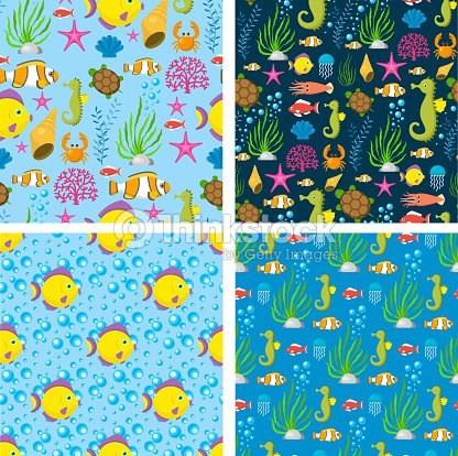 Aquatic funny sea animals underwater creatures cartoon characters shell aquarium sealife seamless pattern background vector illustration