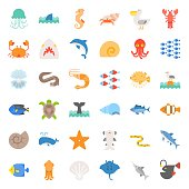 Aquatic Ocean life such as octopus, shell, pelican, herd of fish, tropical fish, flat icon set
