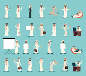 Arab Businessman and Character Icons Set Retro Vintage Cartoon Design Vector illustration