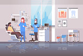 arab dentist with assistant in hijab drilling teeth of man patient lying in dentistry chair professional dental office modern clinic interior arabic characters full length flat horizontal vector illus