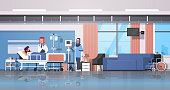 arab doctor and nurse in hijab visiting patient man lying bed with dropper intensive therapy ward healthcare concept hospital room interior medical clinic horizontal banner full length vector illustra