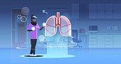 arab doctor nurse wearing digital glasses looking virtual reality lungs human organ anatomy healthcare medical vr headset vision concept clinic room interior full length horizontal vector illustration