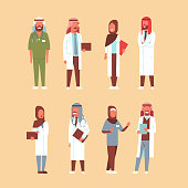 arab doctors set arabic man woman in uniform hospital medicine workers collection male female cartoon characters full length flat vector illustration